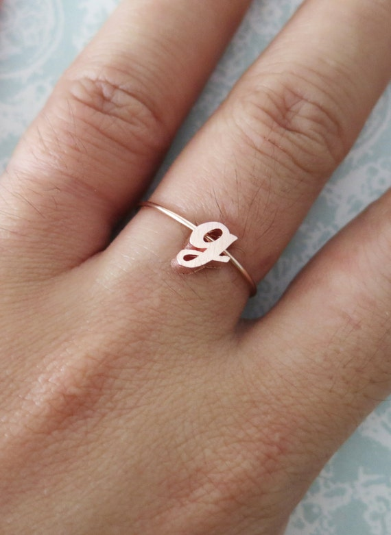 Personalised Rose Gold Initial Letter Ring - Rose Gold Bridesmaid gifts, letter jewellery, best friend sister girlfriend ring, knuckle ring