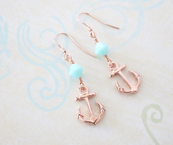Lucky Rose Gold Anchor Earrings Mint Beads - simple rose gold filled earrings with Anchor and Mint Beads, best friends, sisters, mum