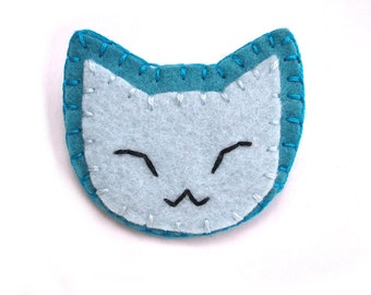 Blue cat button, kawaii blue kitty, cat backpack pin, pinback button, happy cat, fun jewelry