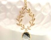 Gold Laurel Wreath Necklace Grey Necklace Gold Necklace Gold Leaf Pendant Grecian Jewelry Greek Goddess Athena Greek Wedding Grey Wedding