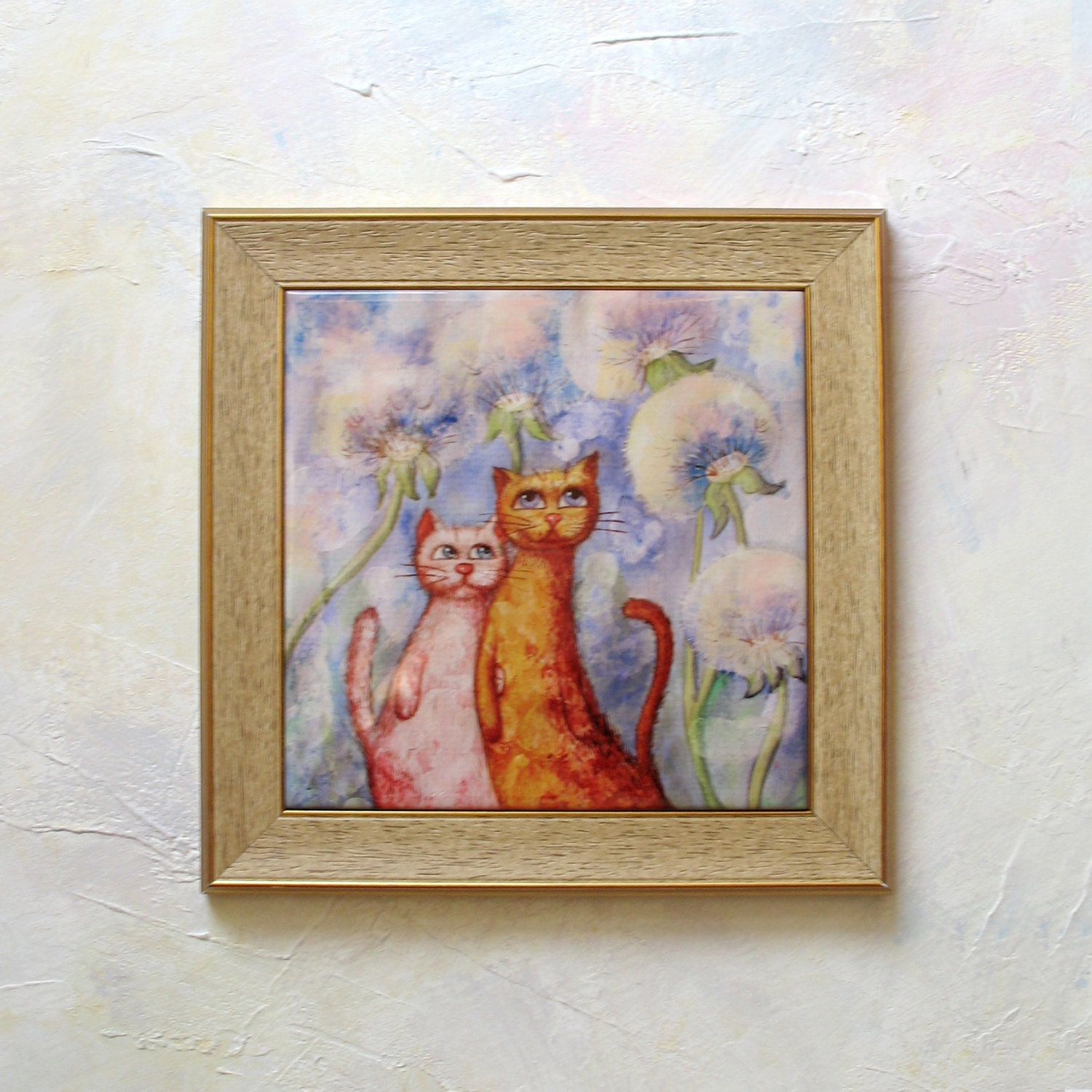 Painting cat hand painted ceramic tile wall art by sobolevaart - Hand painted ceramic tile ...