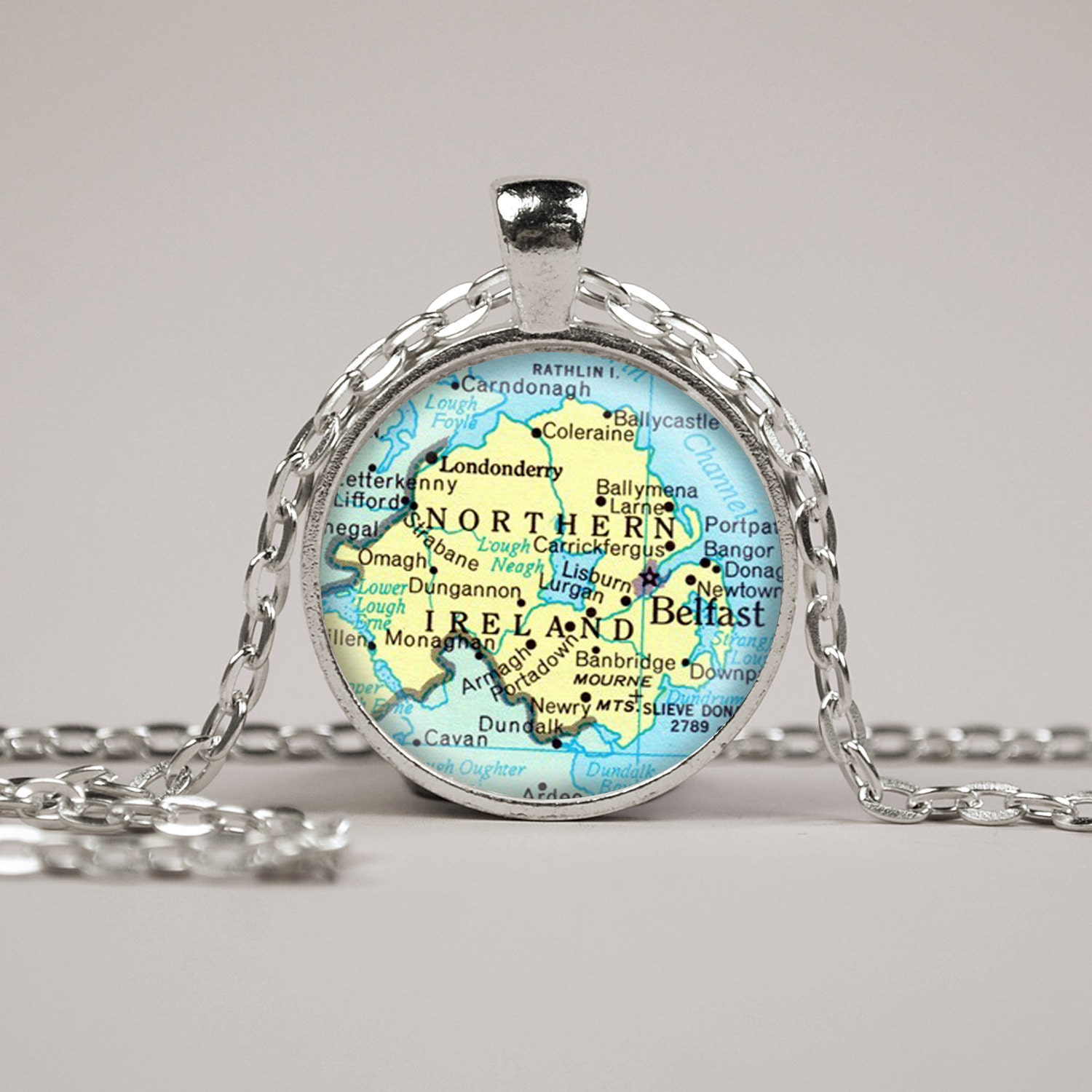 northern ireland map pendant necklace or keyring glass