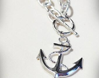 Long Nautical Anchor Necklace. Anchors away. Big Anchor. Chunky chain. Silver.