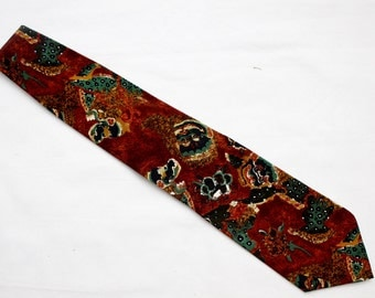"""90's Vintage """"PERRY ELLIS"""" Silk Designer Pattern Tie"""