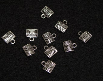 Ten Rectangle Accent Charms - Tibetan Silver - Spacers - Findings