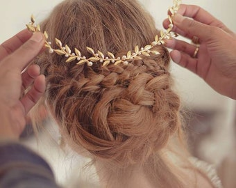Wedding tiara, Bridal headpiece, gold leaf headpiece, Wedding headpieces, Hair accessories