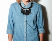 SALE 15% OFF! Unique Statement necklace, tribal necklace. Black beaded fringes on a hand painted, climbing rope.