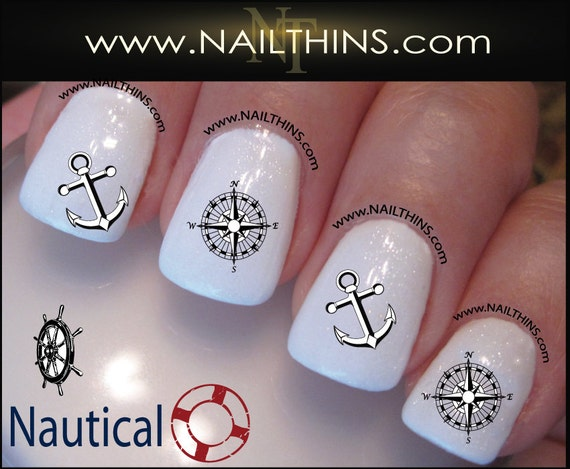 Like this item? - NAUTICAL Nail Decals Anchor Wheel Compass Rose Nail Art