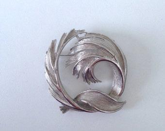 Vintage Silver Tone Leaf Swirl Brooch   Vintage Brooch   Leaf Brooch   Brooch