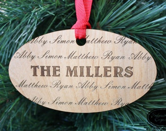 SHIPS FAST, Personalized Family Ornament, Custom Wood Christmas Ornament, Engraved Family Ornament, Holiday Ornament, Holiday Gift, ORN02