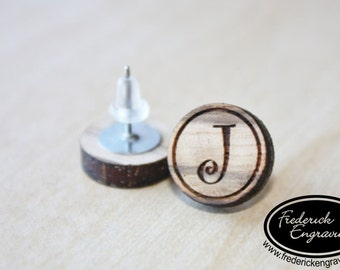 Custom Curly Initial Earrings - Personalized Initial Earrings - Handmade - Wood Curly Initial Earring Studs - EA-8
