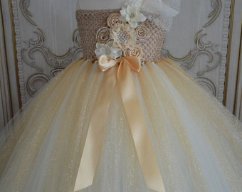 Gold and Ivory flower girl tutu dress