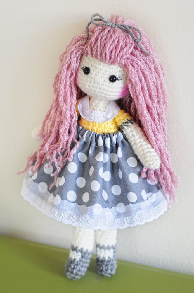 Crochet Hair Doll : 14 crochet doll. Pink long bamboo hair. Yellow by LinaMarieDolls