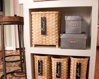 5 pc. - Wood Basket Tags with Die Cut Labels Decals Organization Storage