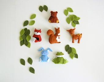 pattern felt ornaments, 6 animals, woodland mobile diy, crib mobile DIY, wool felt pattern, squirrel, fox, frog, bunny, bear, deer