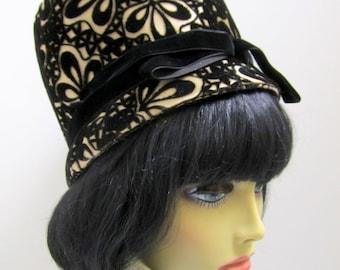 1960s Mod Hat Bucket style, Vintage Mad Men style hat, Embossed black velvet on satin vintage hat