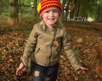 Crochet Girl Hat, baby Hat, cap, newborn Beanie, Brown red handmade, yellow flower