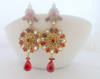 Red and Gold Bollywood Indian Chandelier Earrings