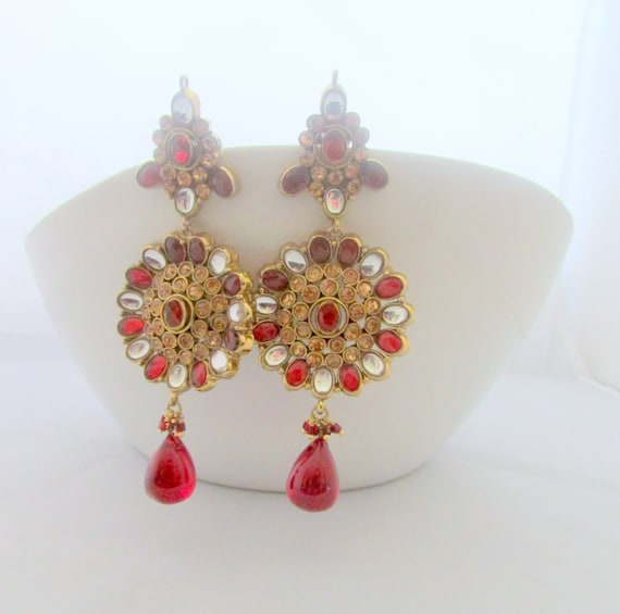 Red Chandelier India: Red And Gold Bollywood Indian Chandelier Earrings