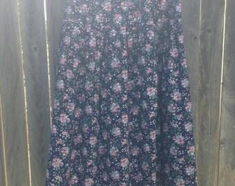 VINTAGE Navy Floral Skirt