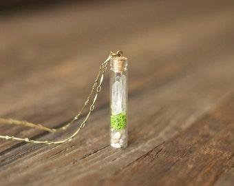 Terrarium Necklace » Quartz Crystal Necklace » Miniature Terrarium » Plant Necklace » Terrarium Pendant » Plant Terrarium Necklace » Quartz