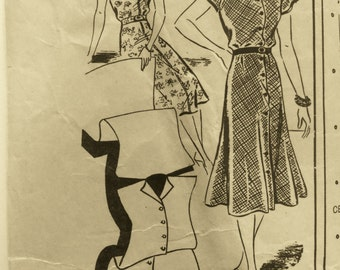 """Vintage 1940s Mail Order Kimona Dress Pattern size 44"""" Bust  UNUSED"""