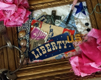 Freedom Assemblage Collage Framed Art.  Liberty.  Americana, American Mixed Media