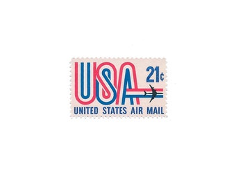 Set of 10 1971 Vintage US Air Mail Stamps Ready to Use