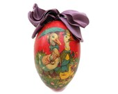 Antique French Easter Egg. Papier Mache Easter Egg and Soft Toy.