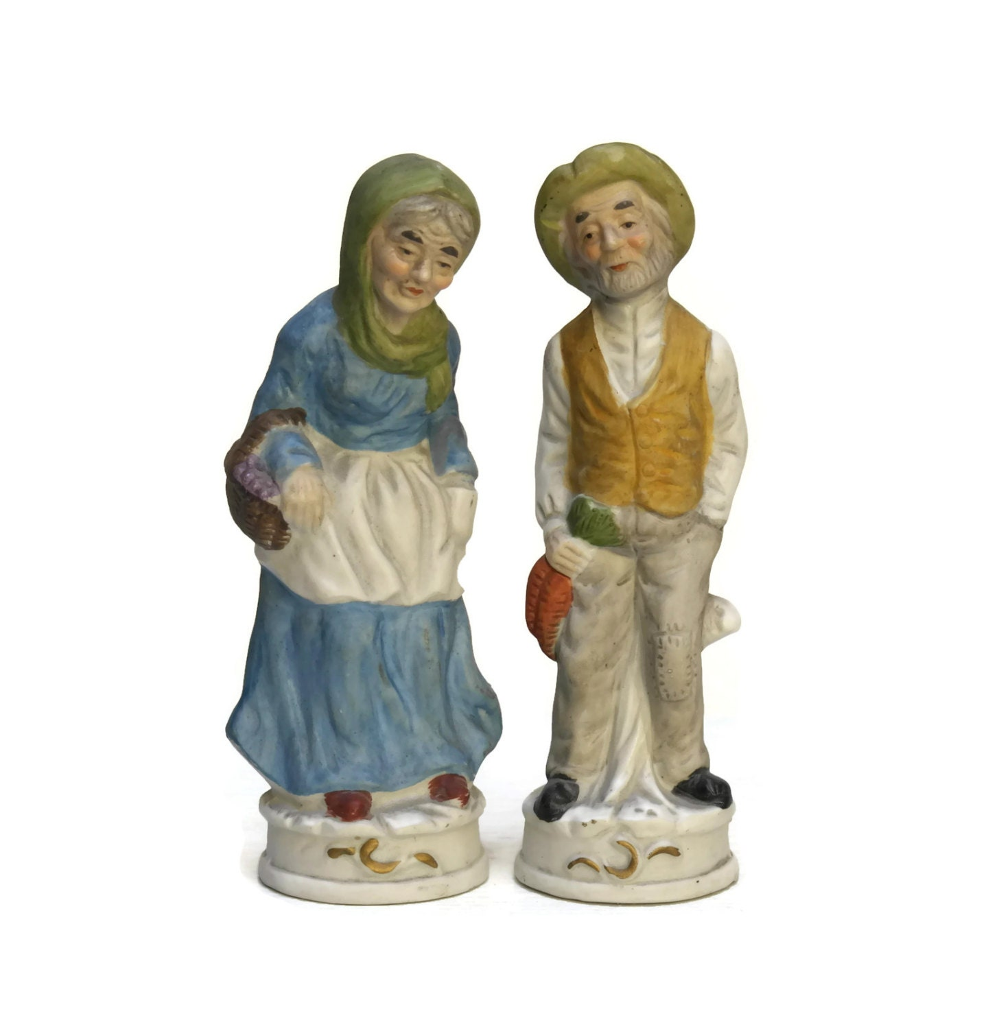 French Bisque Figurines Old Couple Porcelain Figurines