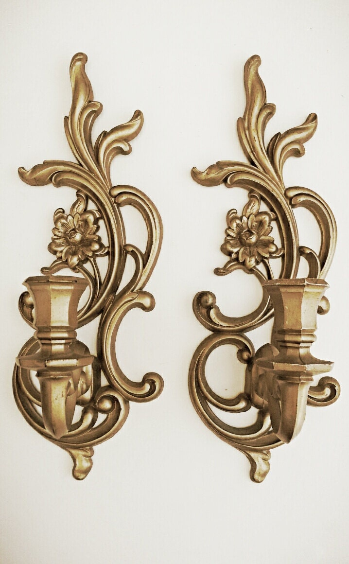 Candle Wall Sconces Vintage : Vintage Gold Wall Sconces Hanging Candle by HingeModernVintage