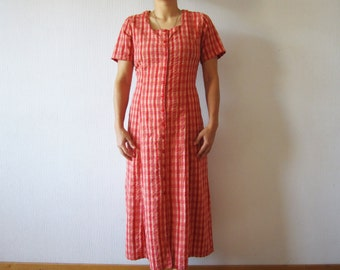 Vintage 80s Coral Red Plaid Shirt Dress Red Orange Cotton Checked Button up Short Sleeve Summer Dress Size Large