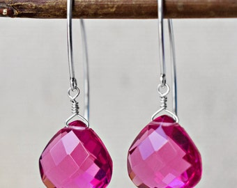 Rubilite Teardrop Earrings - Sterling Silver