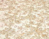 Embroidered Floral Sequin Fabric on Mesh Fabric Elegant Wedding Bridal Decoration Lace Fabric by the Yard Truffle- 1 Yard Style 2403