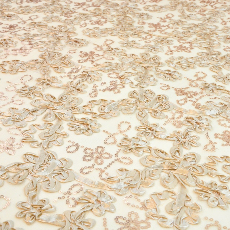 Embroidered floral sequin fabric on mesh by lacefabrics