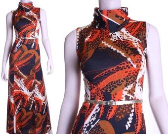 70s volcano jungle dress - medium or large