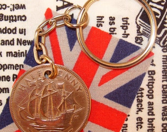 1938 Ha'penny Old Half Penny English Coin Keyring Key Chain Fob King George VI
