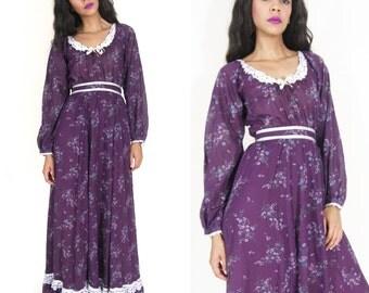 Vintage 70s Gunne Sax Prairie Maxi Dress Purple Ditsy Floral Calico Lace Ribbon Hippie