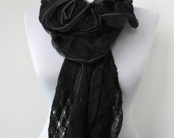 Black Lace Scarf  - Soft Knit Fabric Scarf - Flower scarf - Cowl Scarf - Shawl Scarf  - 631
