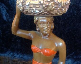 1950s Chalkware Hawaiian Fruit-seller Plaster/Gypsum Figurine. Chalkware Statue. Tiki Decor.
