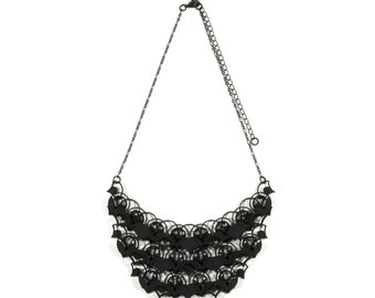 3D Printed Necklace - 0.4oz Luxe/ Black / Modern Statement Necklace / Creative Chain Mail Jewelry / Light Weight