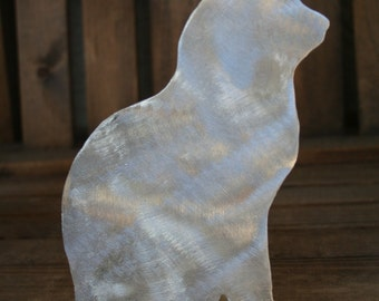 Kitty Cat Shelf or Window Sill Sitter, Hand Cut Aluminum Art, Hand Burnished Finish, Welded Stand
