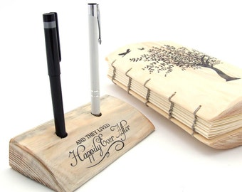 "Guest Book Pen Holder  - Rustic wedding Decor - ""And they lived happily ever after"""