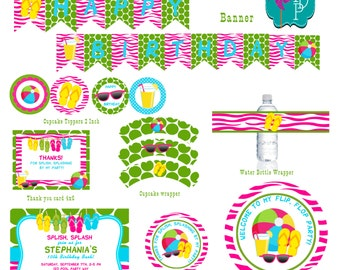 Flip Flop Pool Birthday Printable Party Pack