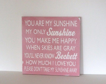 personalized you are my sunshine sign, you are my sunshine sign, distressed wood sign