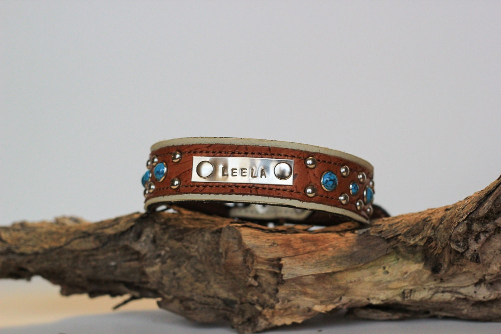 PERSONALIZED Dog Collar Name Plate by JandBCustomLeather
