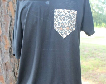 Custom Pocket Off Shoulder Chevron or Cheetah Pocket Shirt
