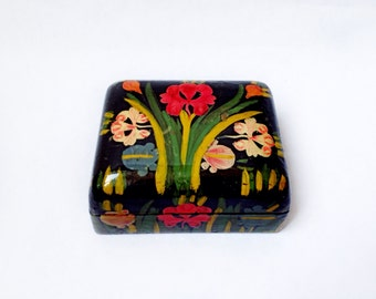 Vintage French Glazed Wooden Box with Flowers