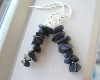 Navy Blue Earrings - Navy Blue Jewelry -  Blue Goldstone Earrings - Blue Stone Jewelry - Goldstone Jewelry
