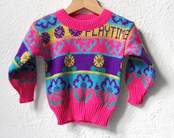 Playtime - 1990's Bright Pink Knit Flower Jumper - Age 1 to 3